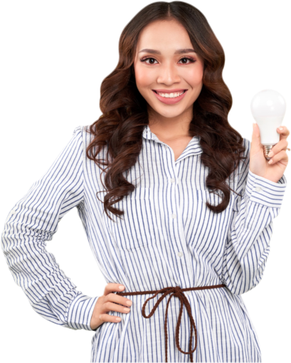 young woman holding a bulb