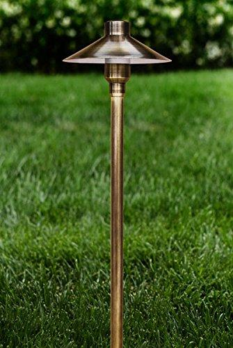 DABMAR LIGHTING LV75-ABS LARGE TOP SOLID BRASS PATH LIGHT, 20W 12V, ANTIQUE BRASS FINISH